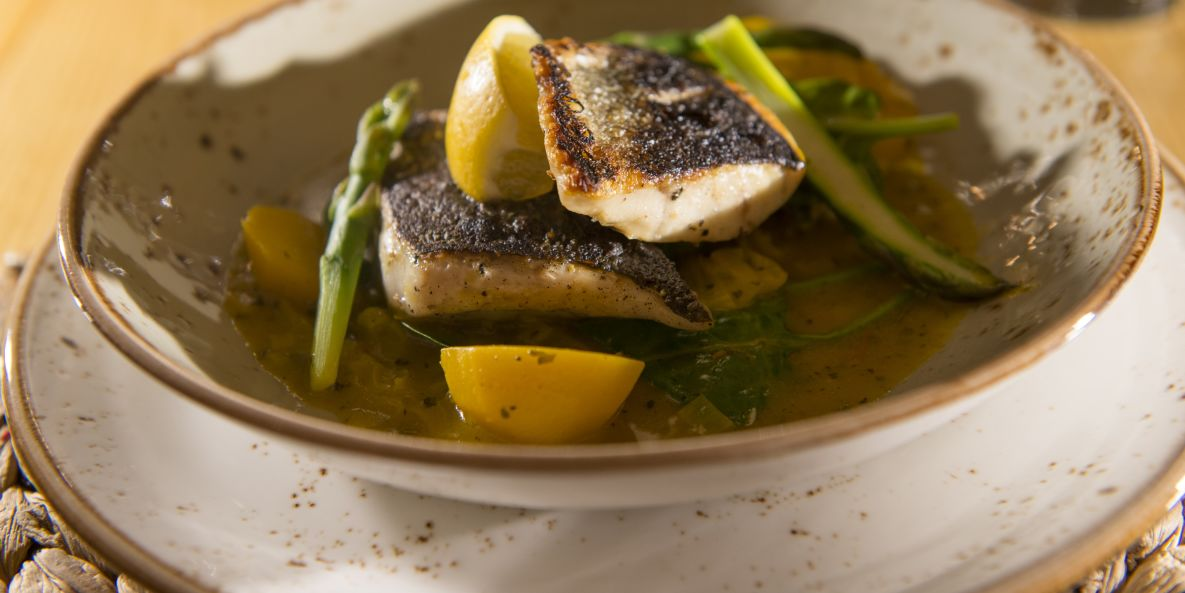 Sea bass, as served in our Meribel catered chalets