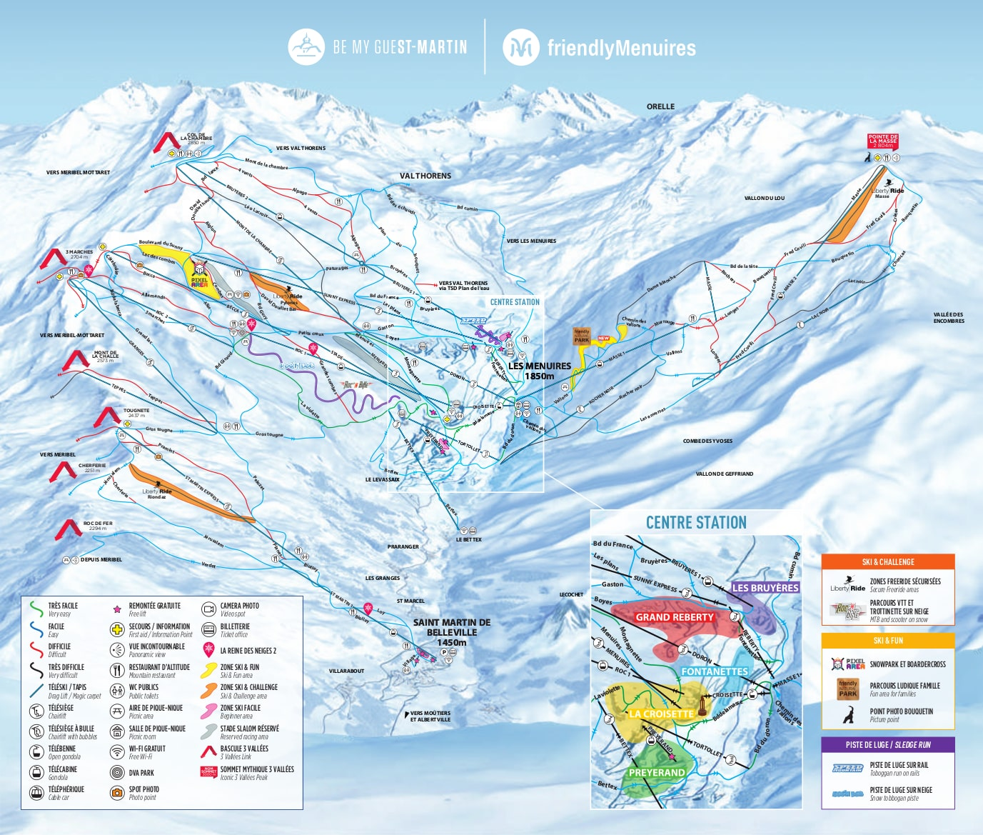 Les Menuires and St. Martin Piste Map